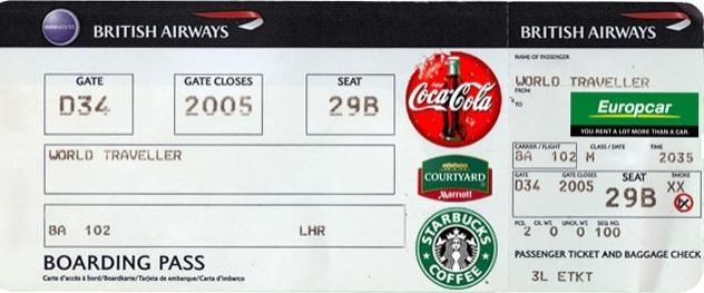Figura 2: Ticket da British Airways com publicidade